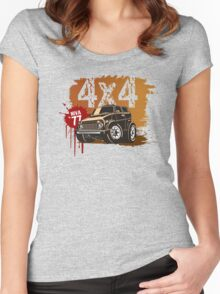 cartoon jeep Women's Fitted Scoop T-Shirt