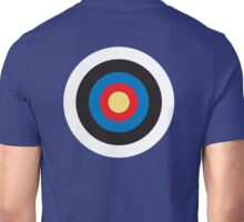 Bulls Eye, Right on Target, Roundel, Archery, Pop, Mod, on BLUE Unisex T-Shirt