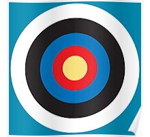 Bulls Eye, Right on Target, Roundel, Archery, Pop, Mod, on BLUE Poster