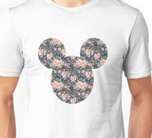 Mouse Vintage Floral Patterned Silhouette Unisex T-Shirt