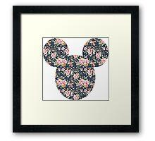 Mouse Vintage Floral Patterned Silhouette Framed Print