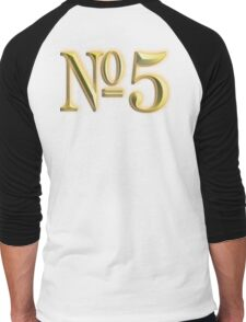 Golden Number 5, 5, NUMBER 5, in Gold, FIFTH, FIVE, 5, Competition, TEAM SPORTS, Men's Baseball ¾ T-Shirt
