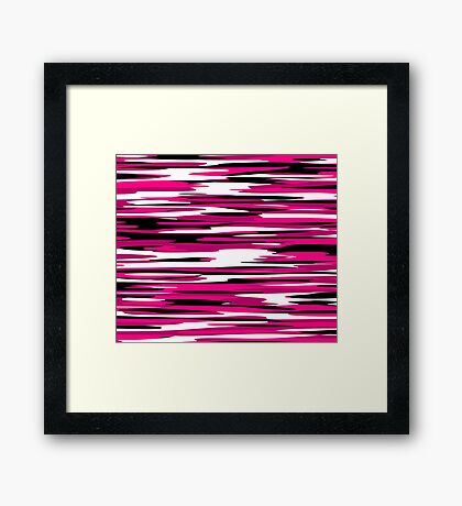 black white and pink abstract Framed Print