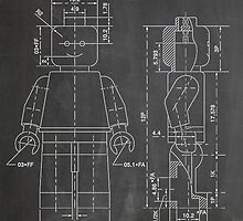 LEGO Minifigure US Patent Art Mini Figure blackboard by Steve Chambers