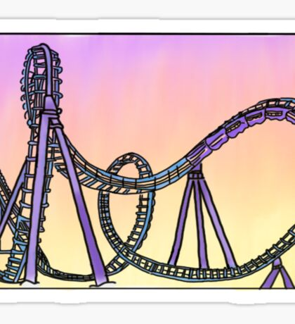 roller coaster and sunset Sticker