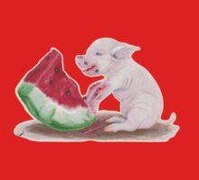 Pig Eating Watermelon Baby Tee