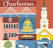 Charleston, South Carolina Skyline- Retro Style Modern Graphic Design Collage  by Loose  Petals