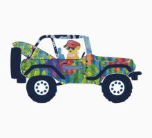 Preppy Jeep Golden Retriever Puppy - Island Beach Vacation One Piece - Long Sleeve
