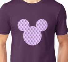 Mouse Purple Diamond Patterned Silhouette Unisex T-Shirt