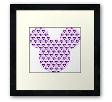 Mouse Purple Diamond Patterned Silhouette Framed Print