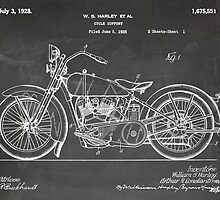 Harley-Davidson Motorcycle US Patent Art 1928 blackboard by Steve Chambers
