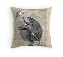 Steampunk Winged Flying Man Throw Pillow