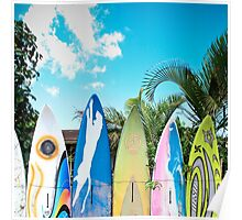 Retro Color Surfboard Fence of Paia Poster