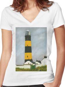 St. John's Point Lighthouse Women's Fitted V-Neck T-Shirt