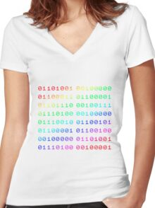 Binary... i can't read it! Women's Fitted V-Neck T-Shirt
