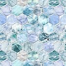 Ice Blue and Jade Stone and Marble Hexagon Tiles by micklyn