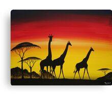 Giraffe Sunset Canvas Print