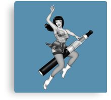 ReVaped Pin Up 2 Greyscale Canvas Print