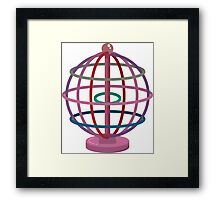 Wired globe cartoon art Framed Print