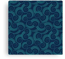 Navy and Teal Ocean Swirls Canvas Print