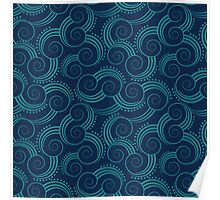 Navy and Teal Ocean Swirls Poster