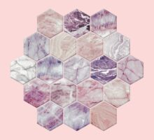 Rose Quartz and Amethyst Stone and Marble Hexagon Tiles One Piece - Short Sleeve