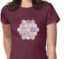 Rose Quartz and Amethyst Stone and Marble Hexagon Tiles Womens Fitted T-Shirt