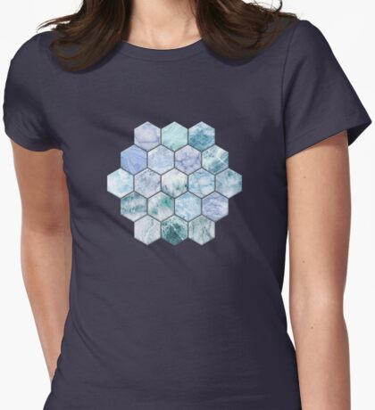 Ice Blue and Jade Stone and Marble Hexagon Tiles Womens Fitted T-Shirt