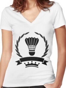 Vintage style badminton logo template Women's Fitted V-Neck T-Shirt