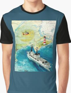 USCGC CHASE Helicopter Lighthouse Map Cathy Peek Graphic T-Shirt