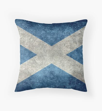 National flag of Scotland - Vintage version Throw Pillow
