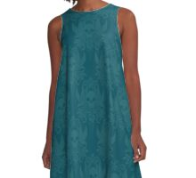 Skull and Birds Brocade: Teal A-Line Dress