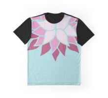 Modern Chic Baby Blue Polka Dots Flower Graphic T-Shirt