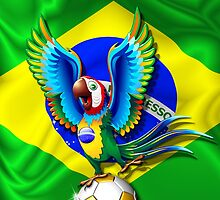 Brazil Macaw Parrot Cartoon with Soccer Ball by BluedarkArt