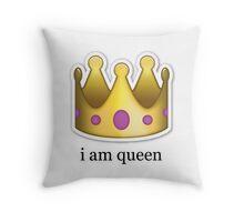 I am queen emoji Throw Pillow