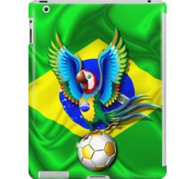 Brazil Macaw Parrot Cartoon with Soccer Ball iPad Case/Skin