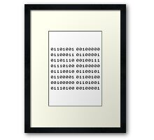 Binary... i can't read it! Framed Print