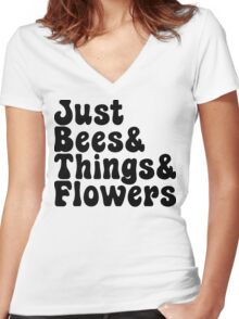 Just Bees & Things & Flowers Women's Fitted V-Neck T-Shirt