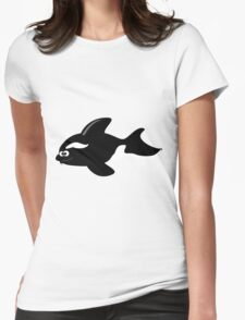 Black and white fish Womens Fitted T-Shirt