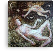 woman and angel Canvas Print