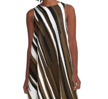 brown and white streaks A-Line Dress