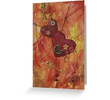 Buttoned Hearts and Skeleton Key Greeting Card