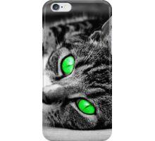 Vibrant green eyed cat iPhone Case/Skin