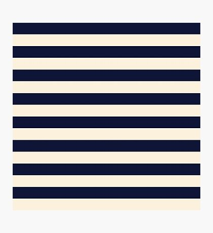 Navy Ivory Bold Stripes Photographic Print