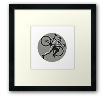 Cyclocross Athlete Carrying Bicycle Circle Retro Framed Print