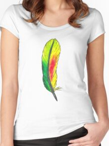 Yellow and Green Feather Women's Fitted Scoop T-Shirt