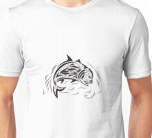 Giant Trevally Jumping Down Tribal Art Unisex T-Shirt