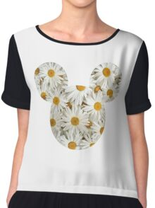 Mouse Daisy Patterned Silhouette Chiffon Top