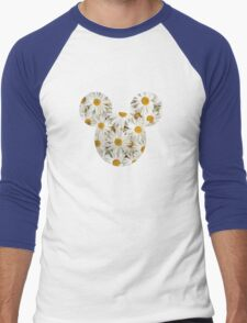 Mouse Daisy Patterned Silhouette Men's Baseball ¾ T-Shirt