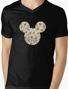 Mouse Daisy Patterned Silhouette Mens V-Neck T-Shirt